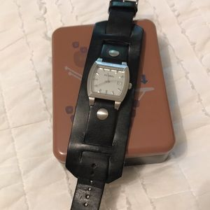 Fossil leather watch with case